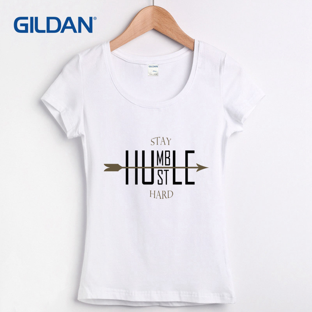 9383806aea Letters Stay Humble - Hustle Hard Cotton Simple HipHop T-shirt Womens Femme Unisex  T-shirt for Women Tee Shirt Short Sleeve
