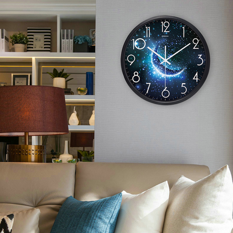 Airinou The Moon Starry Sky And Mars 3 Styles ,Glass&Metal Silent Movement Wall Clock,Children Room Museum Theme Park  Decorate