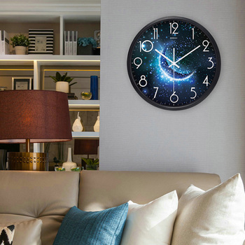 Airinou the Moon Starry Sky and Mars 3 Styles ,Glass&Metal Silent Movement Wall Clock,Children Room Museum Theme Park  Decorate 1