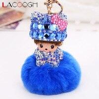 Lacoogh Nova Moda Hairball Chaveiros com Saco de Crianças Boneca Chaveiro Chaveiros para As Mulheres Longo de Cristal da Boêmia Chave Titular