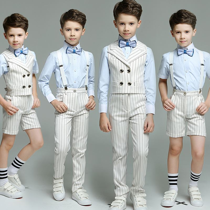 Kids Boy Double Breasted Striped suit 4pcs Strap Vest Pants Shirts Bow tie for Wedding Performance