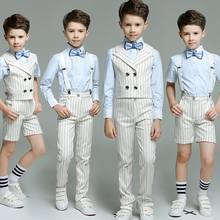 Kids Boy Double Breasted Striped suit 4pcs(Strap/Vest+Pants+Shirts+Bow tie) for Wedding/Performance/Birthday Fashion Blazers(China)