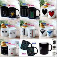 Promotion 12 Styles Color Changing Coffee Mug Heat Senstive Magic Mug Battery Light Bulb Creative Morning