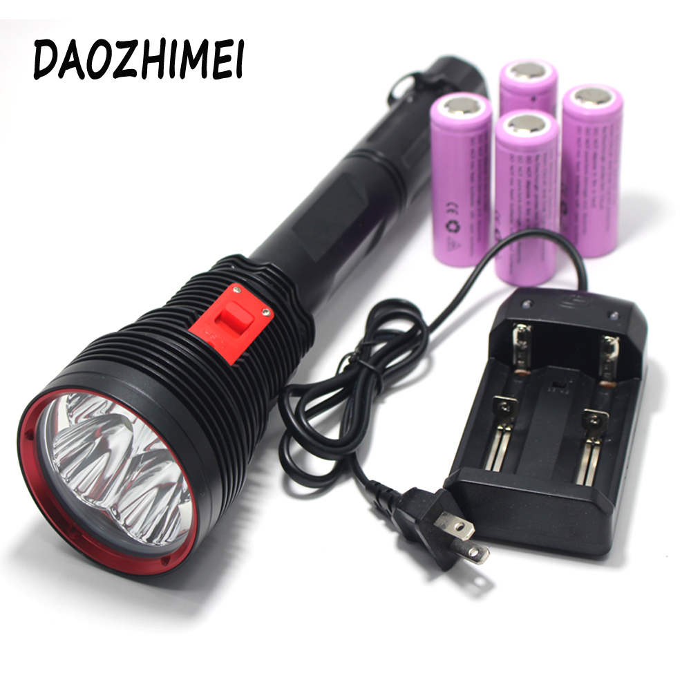 High Power Portable 4*XHP70 LED Diving Flashlight 20000LM  Scuba Dive Torch Light Super Bright Lamp Use 4x 26650 batteryHigh Power Portable 4*XHP70 LED Diving Flashlight 20000LM  Scuba Dive Torch Light Super Bright Lamp Use 4x 26650 battery