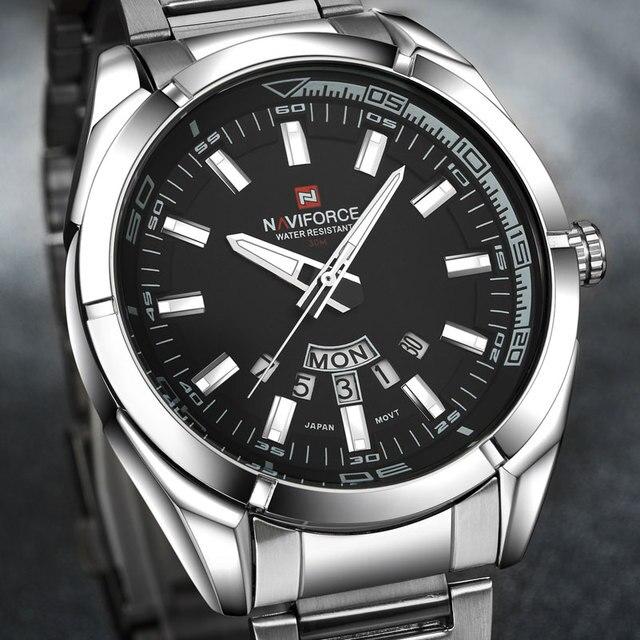 NAVIFORCE Brand Men Watches Business Quartz 30M Waterproof Watches Men's Stainless Steel Band Auto Date Wristwatches Relojes 2