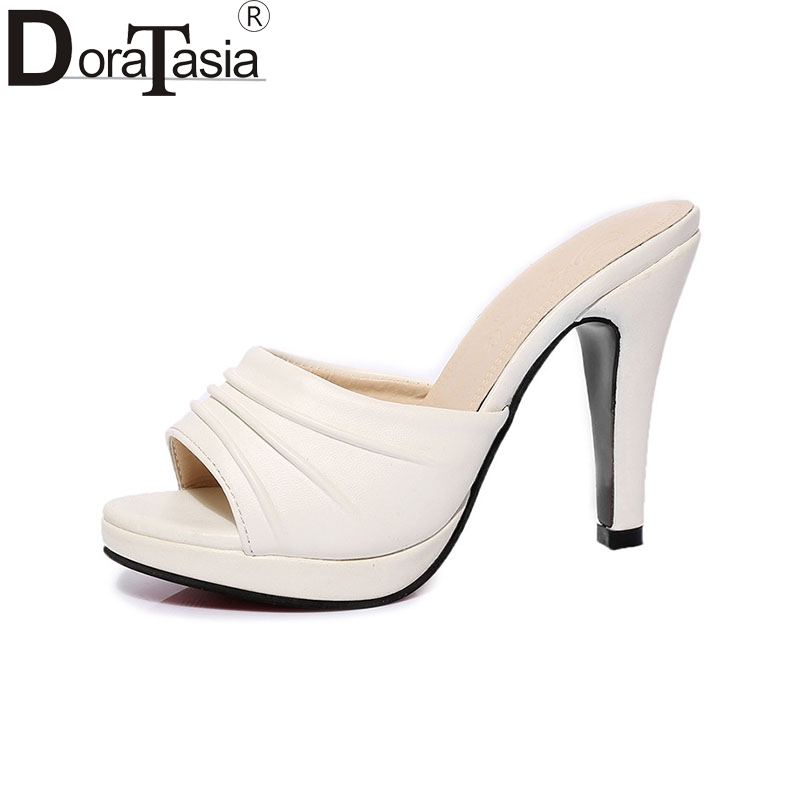 DoraTasia New Fashion Party Outdoor Open Toe Platform Women Mules Pumps Slip On Thin High Heels Summer Shoes cicime women s heels thin heel spikes heels solid slip on wedding fashion leisure casual party dressing high heel platform pumps