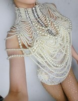 Woman Prom Dress Wear Pearl Chains Jacket Outfit One Piece Bodysuit Queen Crystal Design Wedding Dj