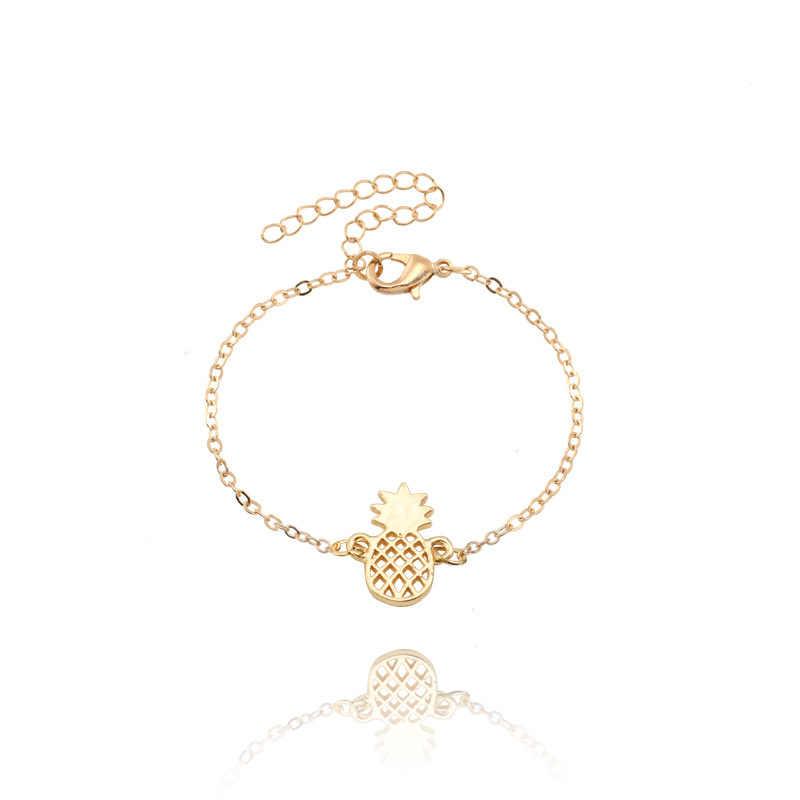 Minimalistyczny ananas bransoletka dla kobiet ekskluzywny prezent BFF biżuteria 2018 przyjaźń bransoleta z różowego złota ze stali nierdzewnej