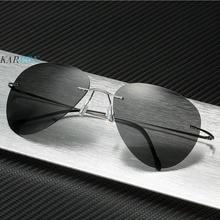 2019 New Pure Titanium Polarized Men Sunglasses Fashion Ultra-light Frameless Driving Gentlemen Sun Glasses Eyeglasses