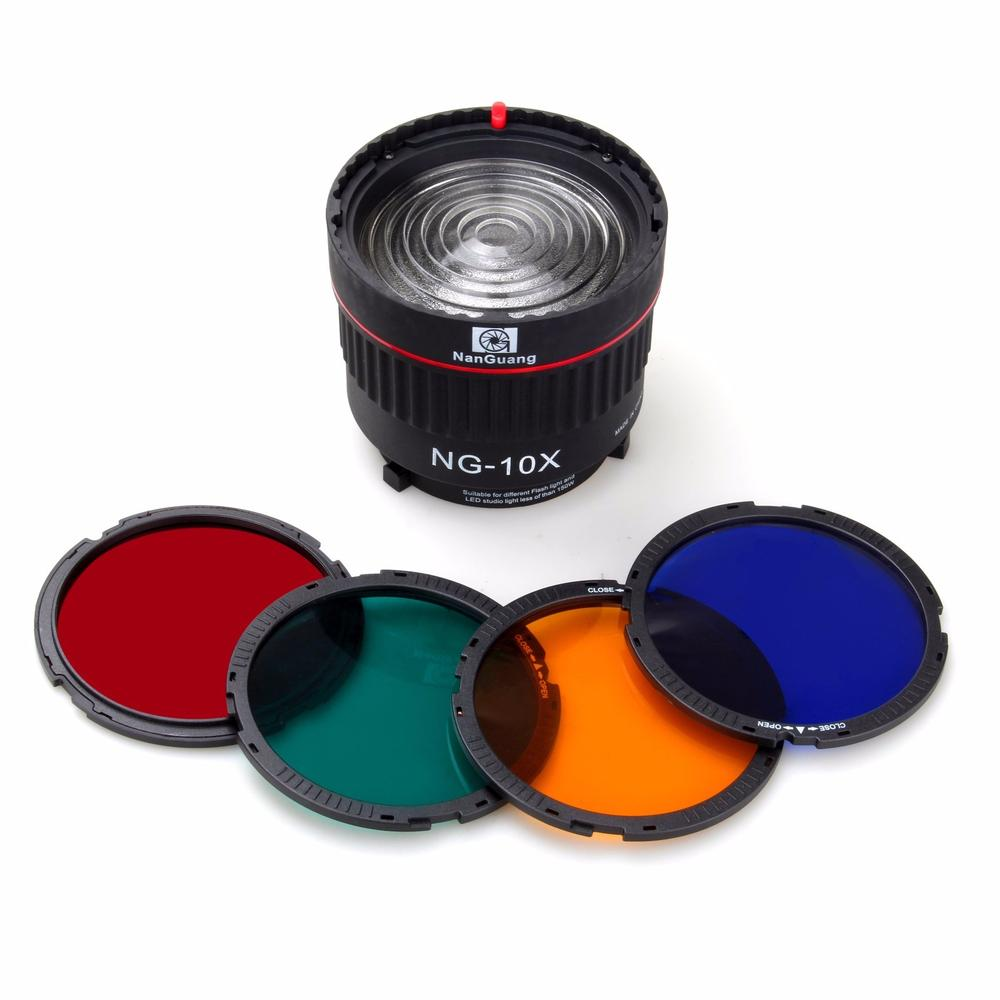 Nanguang NG-10X Studio Light Focus Lens Bowen Mount For Flash & Led Light With 4 Color Filter
