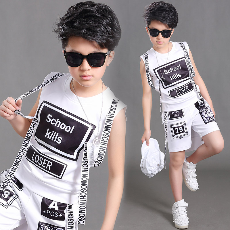 Boys Jazz Hip Hop Dance Costumes Fashion Letters Set New Children'S Drums Street Performance Costumes Boys Handsome Suit DL3959