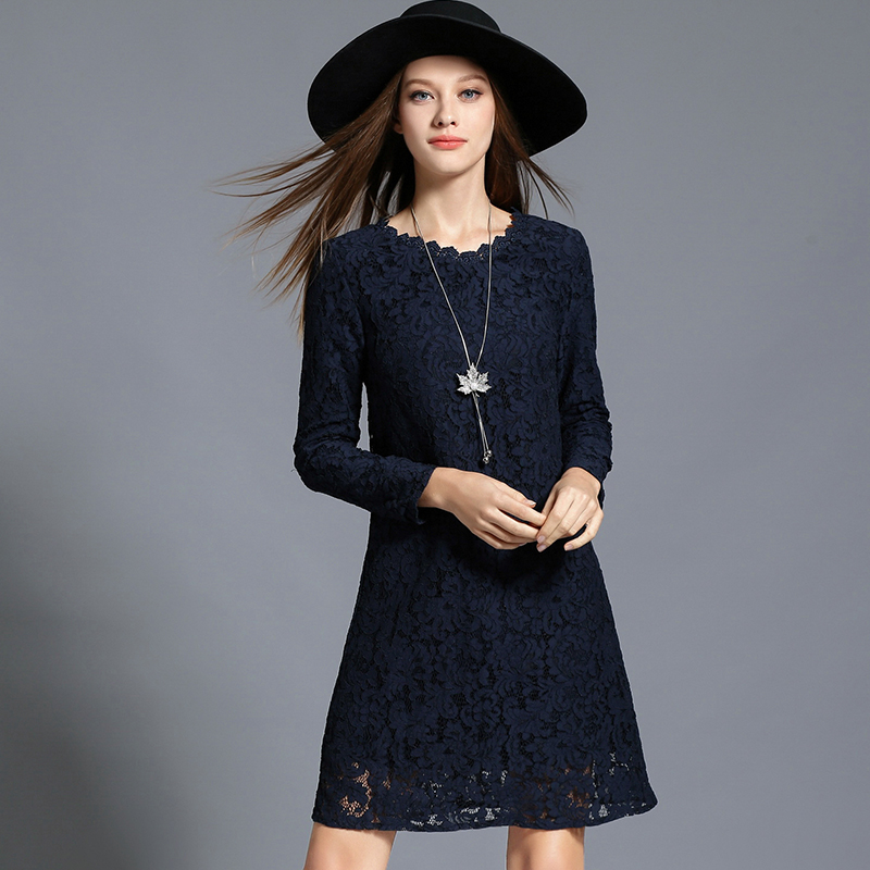2017 Autumn Winter Plus Size Floral Lace Dresses Navy blue Elegant Long Sleeves Lady Dress High