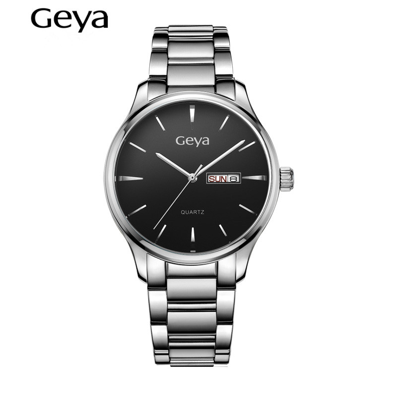 Men Watch 2016 Brand font b Luxury b font Geya Quartz Male Analog Auto Date Wristwatches