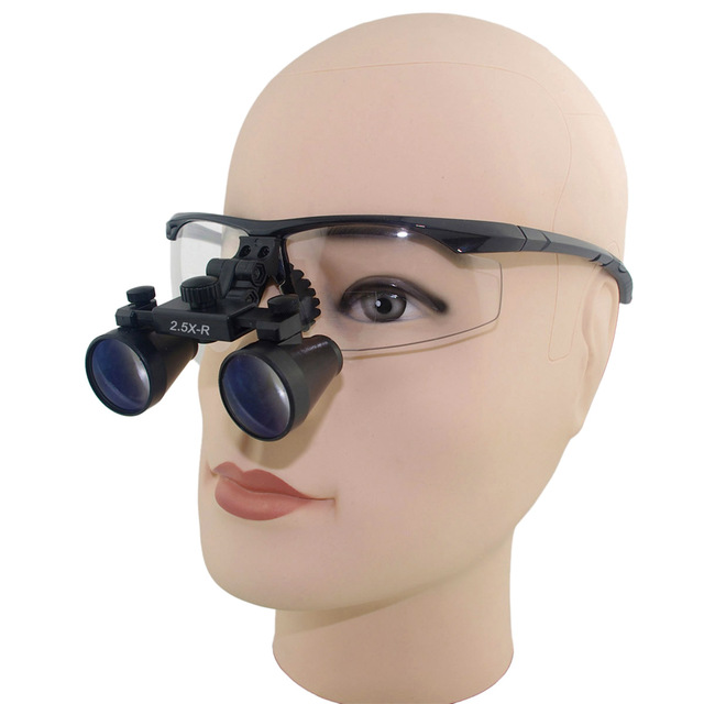 2.5x Magnification Professional Loupes with Black BP Sports Frame for Dental, Surgical, Jeweler, or Hobby