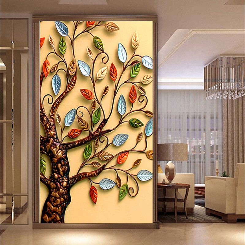DPF DIY 5D Diamond Painting Cross Stitch Round Diamond Embroidery Rich tree Droplet Apple Diamond Mosaic for Home decor