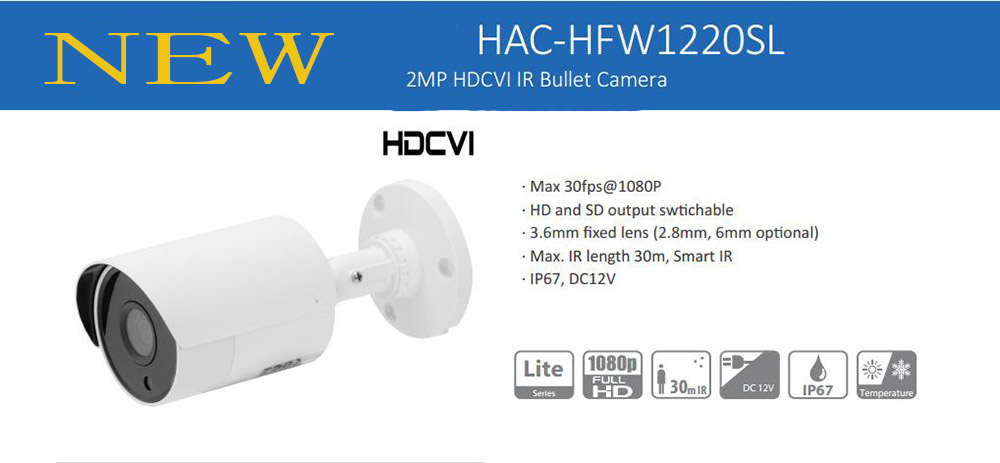 Free Shipping DAHUA Security Camera CCTV 2Mp 1080P Water-proof HDCVI IR Bullet Camera without Logo HAC-HFW1220SL dahua 2mp hdcvi camera cctv 1080p water proof ip67 hac hfw1200s bullet camera lens 3 6mm ir leds length 30m mini security camera