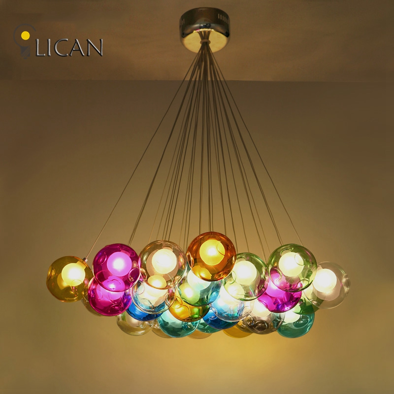 LICAN Lights Modern LED colorful glass pendant Chandeliers lights for dining room living room bar led G4 96-265V glass lights modern crystal chandelier led hanging lighting european style glass chandeliers light for living dining room restaurant decor