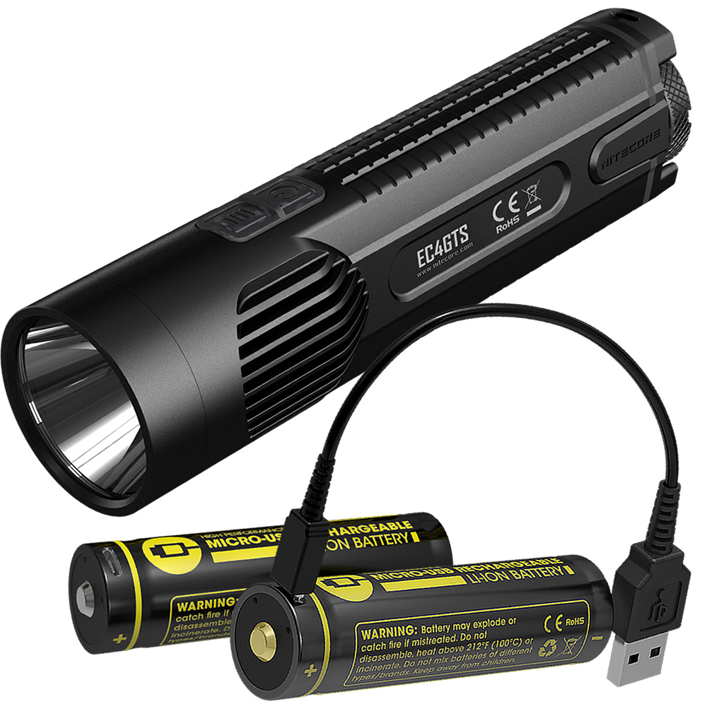 NITECORE Explorer EC4GTS + 2x USB Chargeable 18650 Batteries High Performance Searchlight Torch Camping Flashlight Free Shipping nitecore ec4gts 1800lm high performance blazing searchlight 396 meter torch hunt outdoor hiking camping flashlight free shipping
