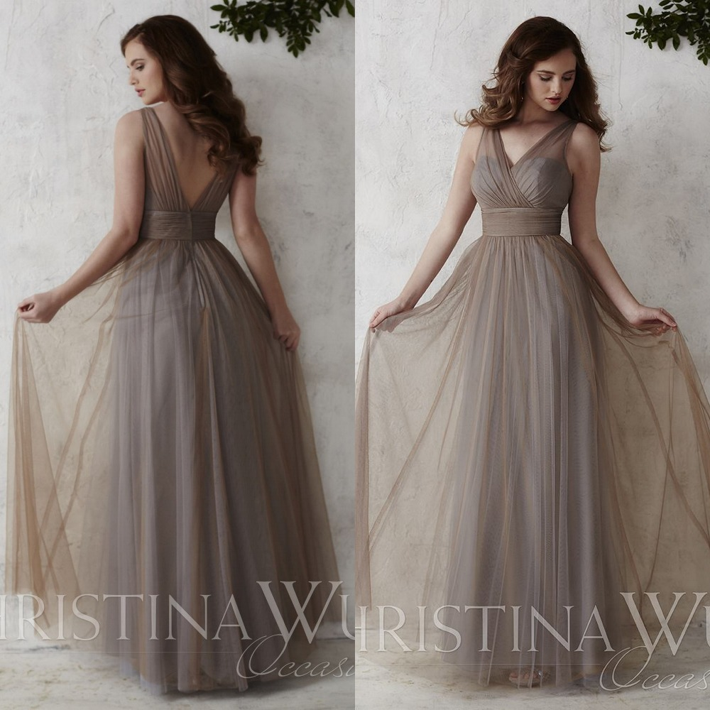 Tulle V Neckline Bridesmaid Gown Long Bridesmaids Dress Day Wedding Guest Dresses Ruched Bodice Sweep Train In From Weddings