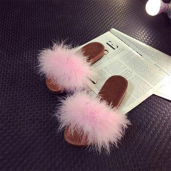 XA Шлёпанцы для женщин Мех животных ry открытым носком женская повседневная обувь на плоской подошве милые мягкие пушистые теплые домашние т...
