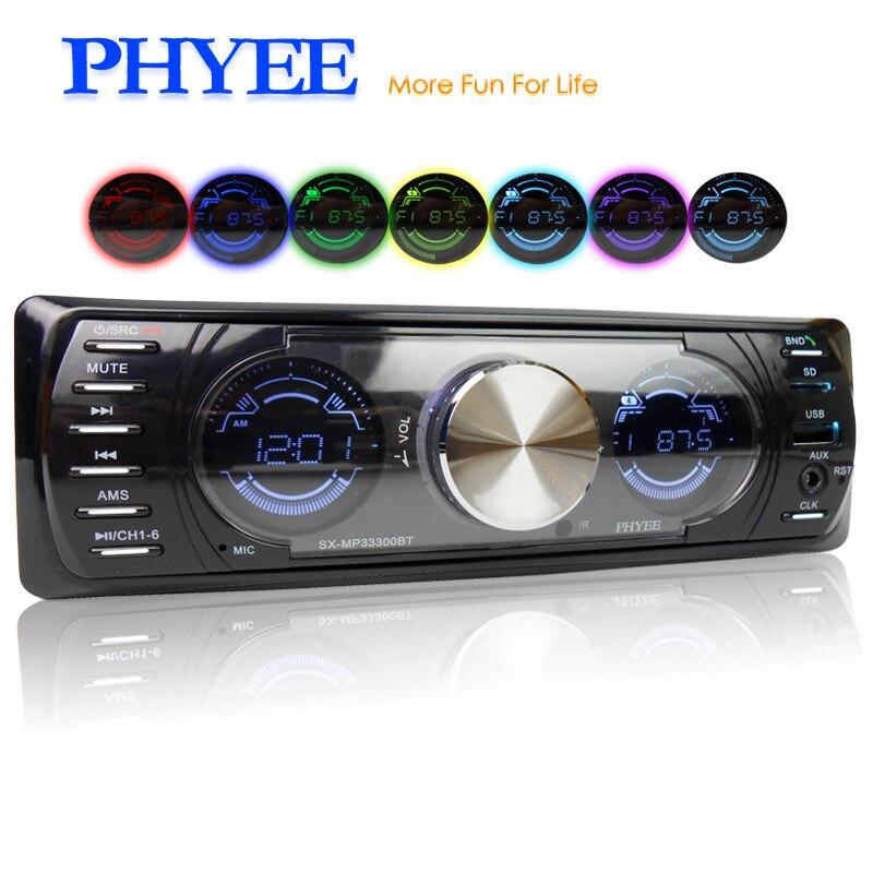 1 Din Rádio Do Carro Do Bluetooth Dual Telas de Áudio Estéreo MP3 ID3 WMA USB A2DP Handsfree Unidade Cabeça ISO PHYEE SX-MP33300BT