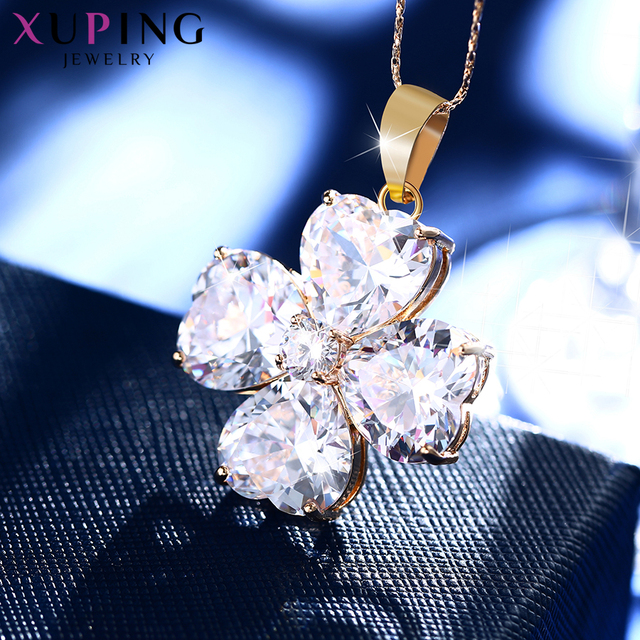 Xuping Flower Design Fashion Style Gold Color Plated Necklace Pendant Women Jewelry for Valentine's Day Gift S68-32897