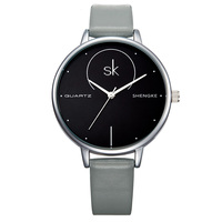 SK Super Slim Sliver Leather Strap Watches Women Top Brand Luxury Casual Clock Ladies Wrist Watch