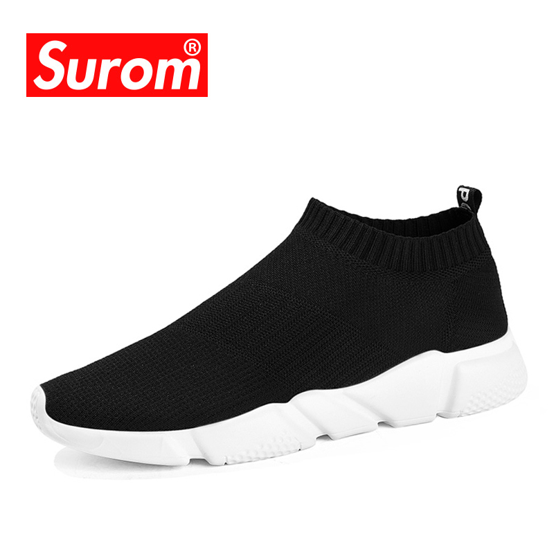 SUROM Men's Casual Shoes 2018 Lightweight Slip on Socks Sneakers Youth Boys Breathable Trainers Low Cut Harajuku Speed Krasovki