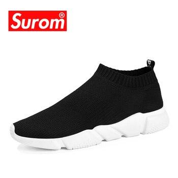 SUROM gündelik erkek ayakkabısı 2018 Hafif kayma Çorap Sneakers Gençlik Boys Nefes Eğitmenler Düşük Kesim Harajuku Hızlı Krasovki
