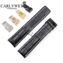 CARLYWET 22 24mm Black Men Women Wholesale Replacement Real Cowhide Leather Wrist Watch Band Belt Strap