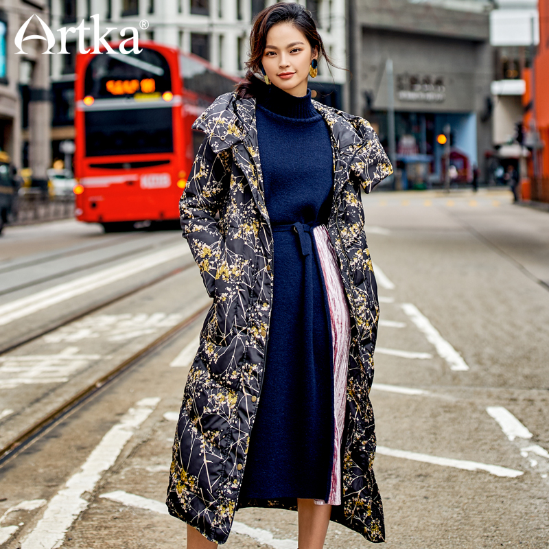 ARTKA New City Series Women's Down Coat Winter Long 90% White Duck Down Thick Warm Slim Hooded Paint Floral  ZK10376D