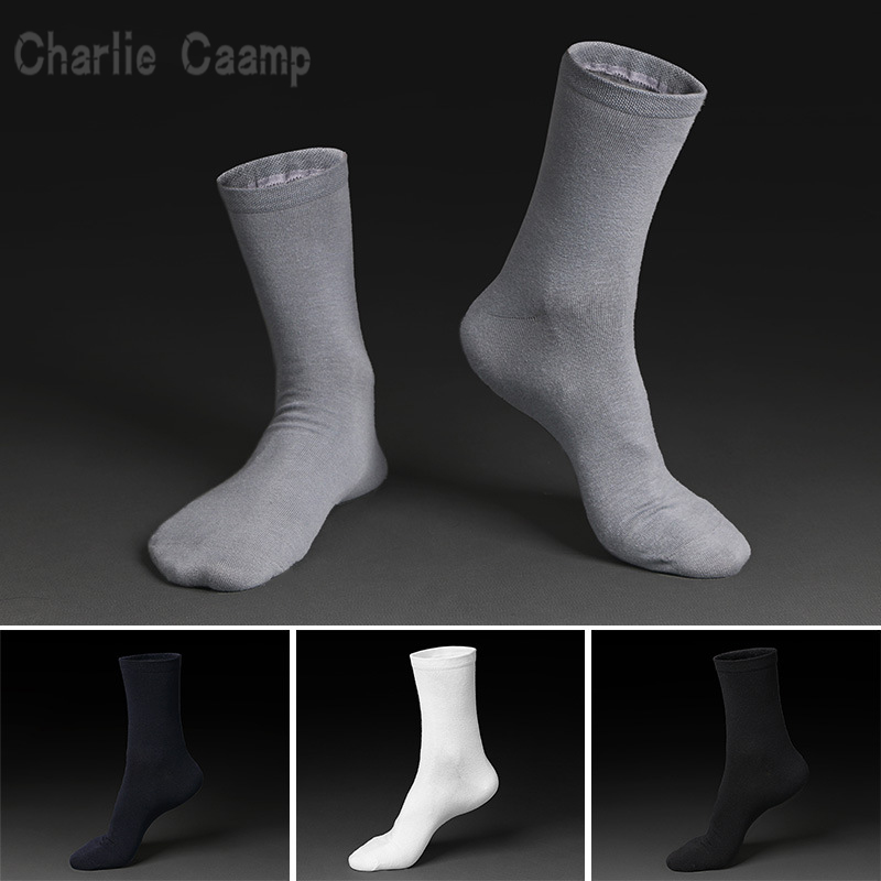 Charlie Campp Spring and Summer 100% Cotton 200 Needleless Socks Solid Color Business Mens Socks Tube Socks