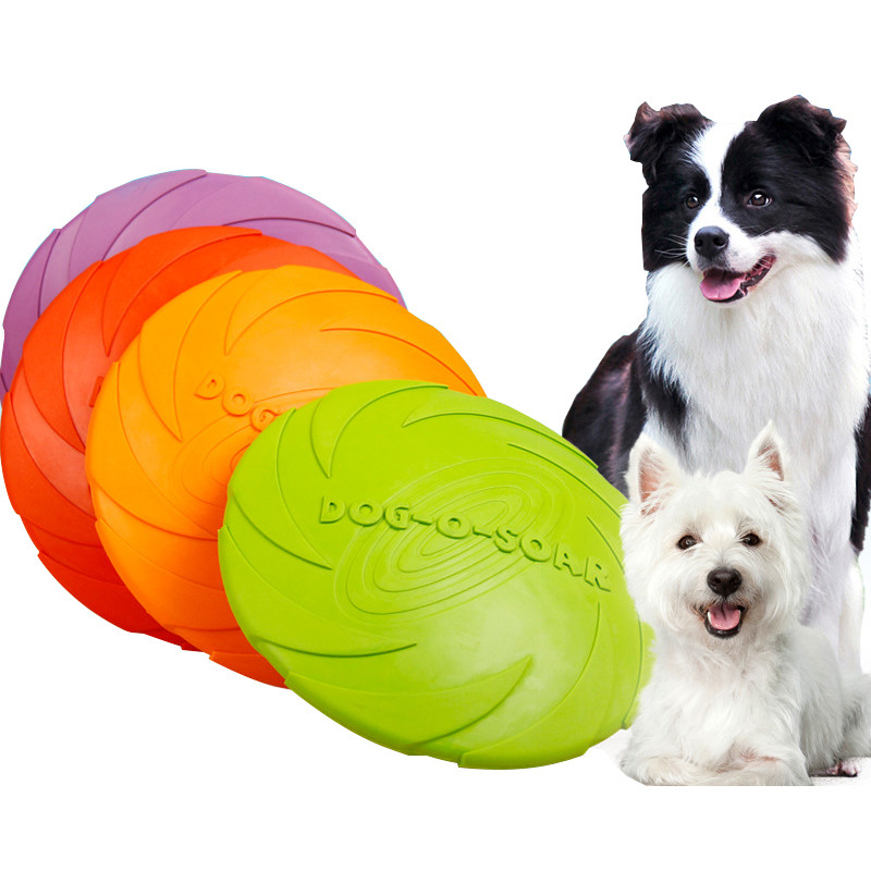 Outdoor Soft Eco-friendly Rubber Dog Frisbee Toy Pet Tooth Resistant Fetch Toys Dogs Training Flying Disc Puppy Playing Toy