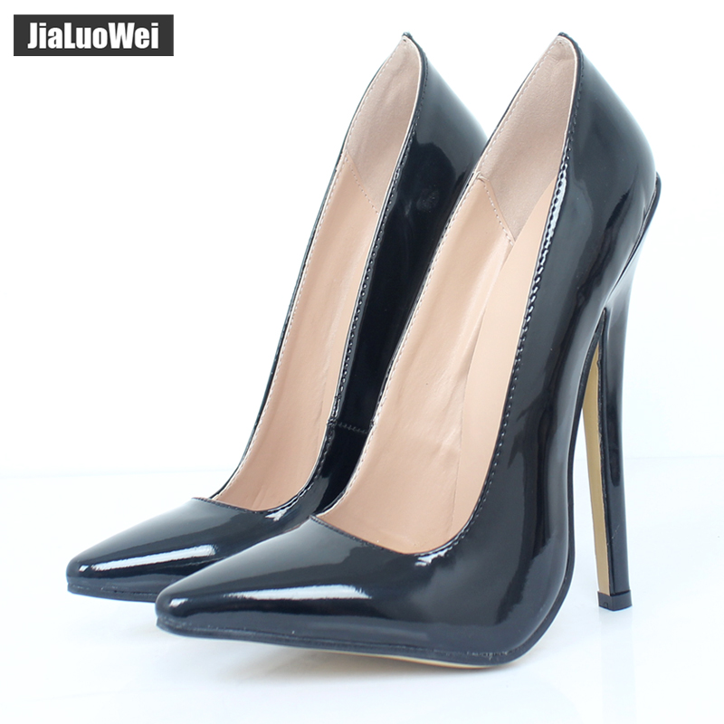 jialuowei Women 18cm <font><b>Extreme</b></font> <font><b>High</b></font> <font><b>Heel</b></font> Pumps Pointed Toe <font><b>Sexy</b></font> <font><b>Fetish</b></font> Stiletto Thin <font><b>Heels</b></font> Wedding Party Summer Unisex <font><b>shoes</b></font> image