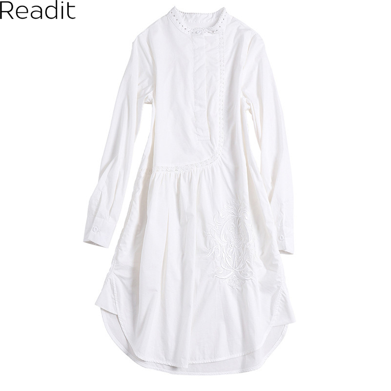 Readit Dresss 2017 צבע טהור סתיו כותנה טלאי שרוול ארוך Stand צווארון Vestidos שמלה מזדמן רקמה D2731