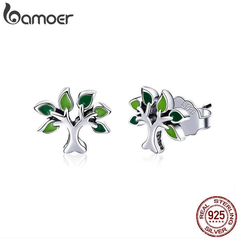 BAMOER 100% 925 Sterling Silver Tree of Life Stud Earrings Tree Leaves Leaf Earrings for Women Fashion Silver Jewelry SCE409 pair of stylish rhinestone palm leaf stud earrings for women