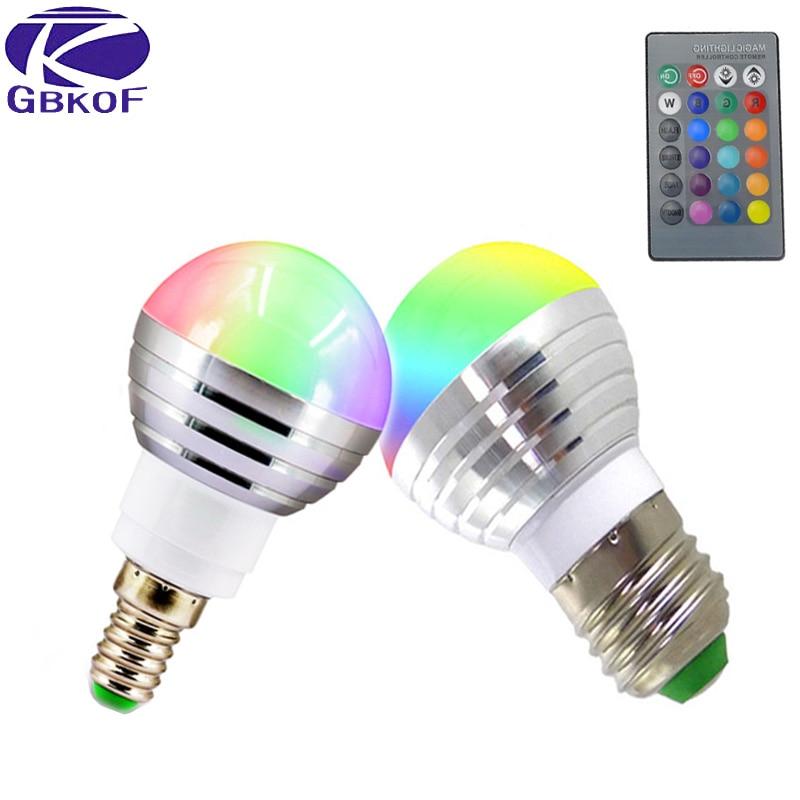 gbkof e14 e27 5w 7w rgb led lamp 110v 220v 16 color change rgb bulb light lamp with remote. Black Bedroom Furniture Sets. Home Design Ideas