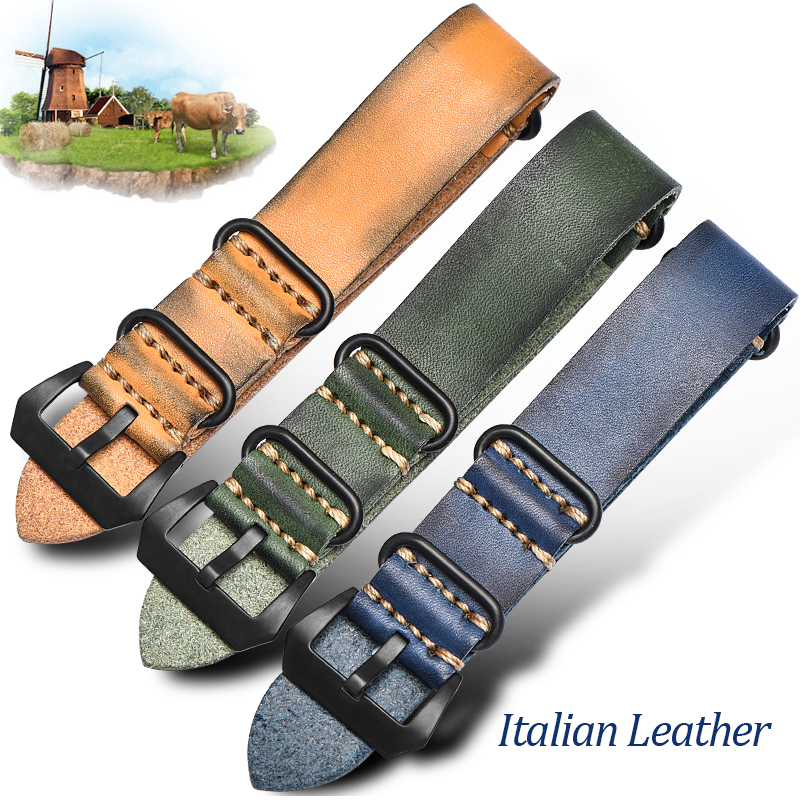 Free shipping handmade italian leather watch band watch leather strap 18mm 20mm 22mm 24mm 26mm for brand watches replacement eache 20mm 22mm 24mm 26mm genuine leather watch band crazy horse leather strap for p watch hand made with black buckles