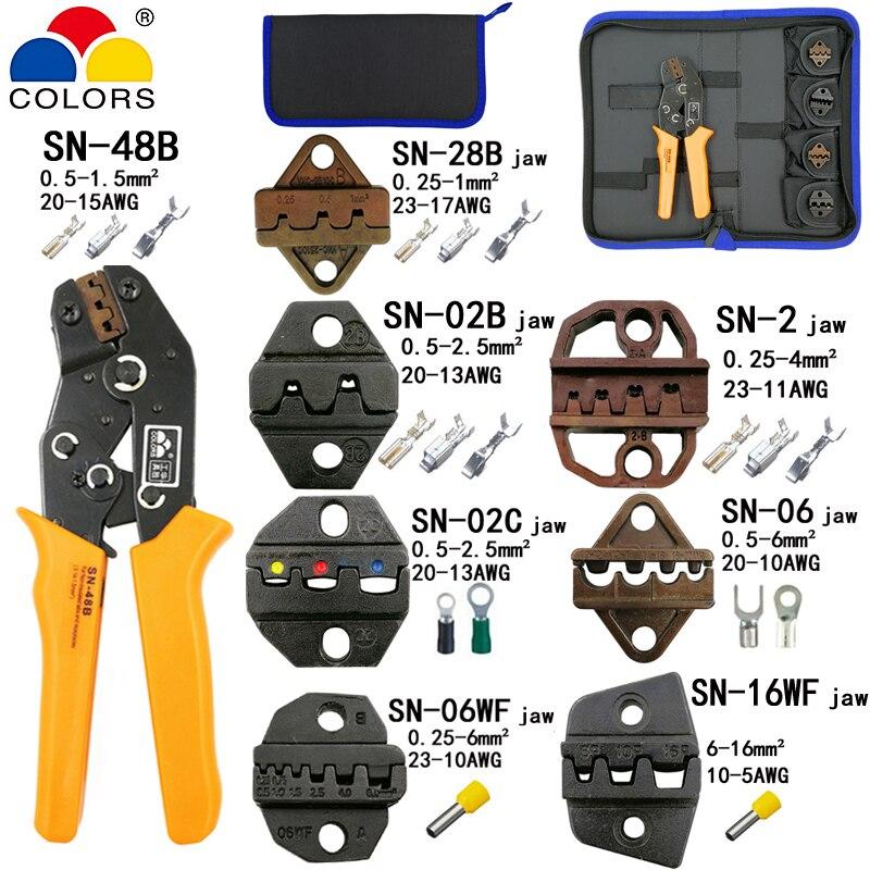Alicate de friso SN-48B 7 mandíbula para 2.8 4.8 C3 XH2.54 3.96 2510 pulg/tubo/insuated terminais kit saco elétrica braçadeira ferramentas marca