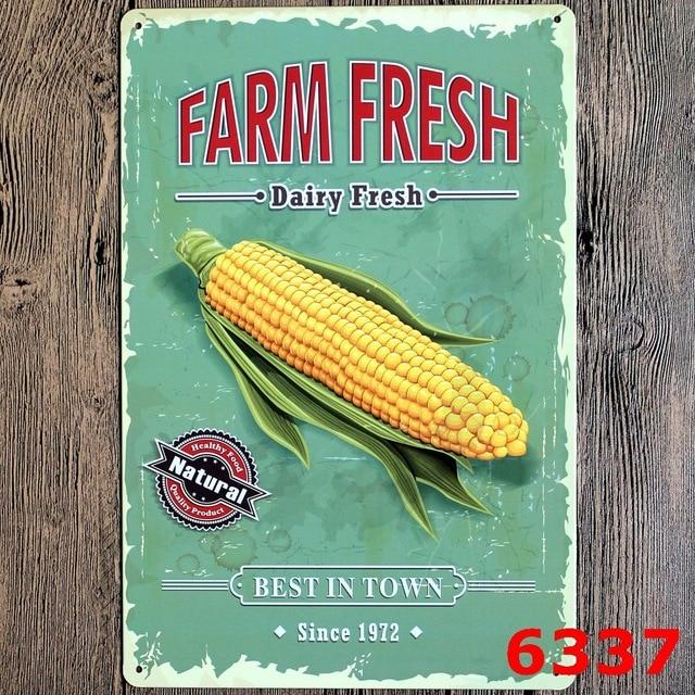 30X20CM Farm Fresh Vintage Home Decor Tin Sign Wall Decor Metal Sign ...