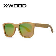 X-WOOD Fashion Bamboo Frame Polarized  Sunglasses Men Women Green Yellow Grandient Sun Glasses Oculos Amare Oculos Sol Masculino