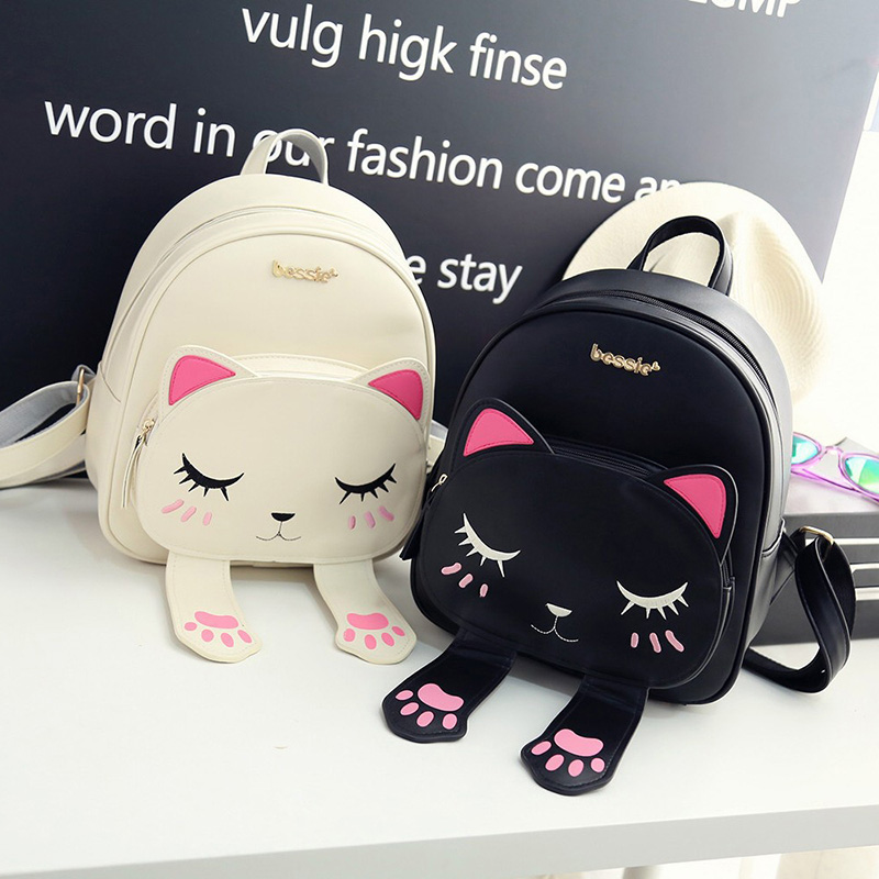 Cute Cat Backpack School Women Pu Leather Backpacks For Teenage Girls Funny Cats Ears Canvas Shoulder Bags Female Mochila Xa531b #2