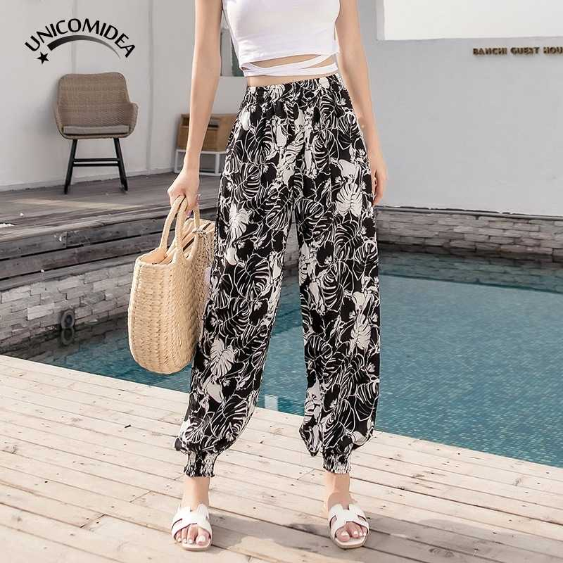 204f6e6ba7 Women Ethnic Full Pants Floral Print Lantern Pants Elastic Waist Casual  Ladies Boho Style Summer Beach