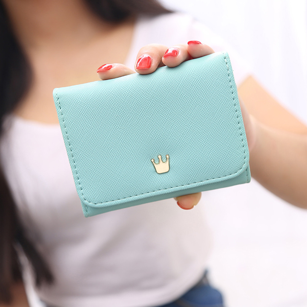 Women's Wallet Card Holder Wallets Crown Small Coin Purse Fashion Female Purse Short Purse Cluth Money Bag Bolsa feminina new 2017 pink hollow leaf short wallet women wallets small purse for girls credit id card holder money coin bag christmas gifts
