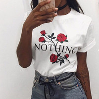 Rose Print Letter Nothing Cotton T Shirt Women Sexy Tumblr Graphic Tee Pink Grey T Shirt