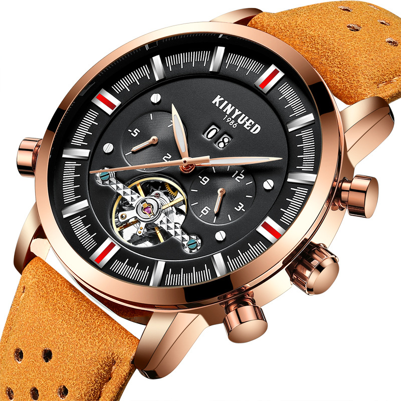 Kinyued Skeleton Tourbillon Mechanical Watch Automatic Men Classic Male Gold Dial Leather Mechanical Wrist Watches J019P-2 kinyued skeleton tourbillon mechanical watch automatic men classic male gold dial leather mechanical wrist watches j026p 2