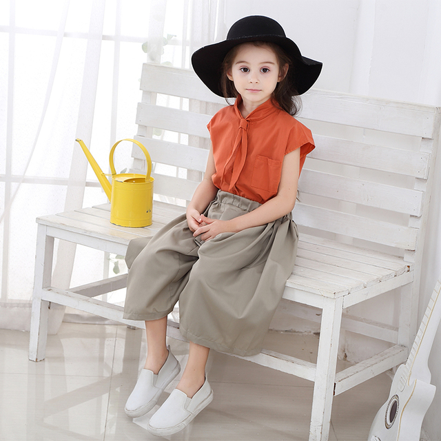 2019 Teen Clothes Suit Elegant Clothing Set For Girls Summer Sailor Collar Children's Clothes 6 8 10 Years Costume For Girls 2