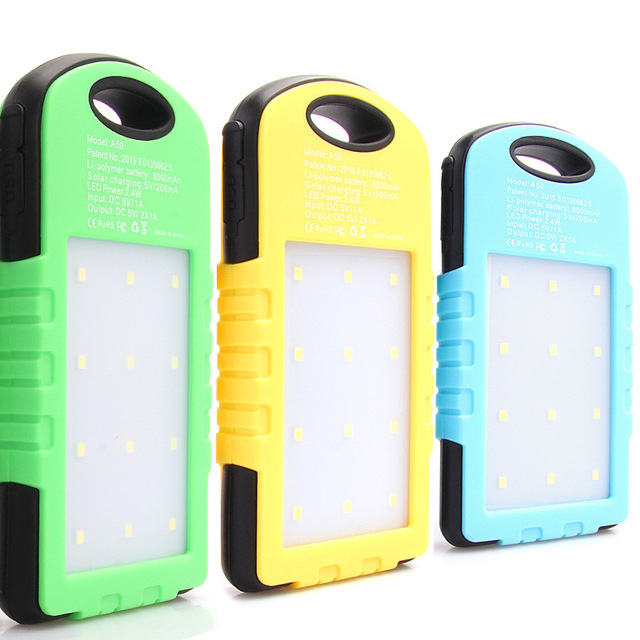 US $19 98 | A50 Waterproof Solar Charger Power Bank with Light 8000 mAh  Dual USB bateria Externa battery powerbank With LED Lamp Universal-in Power