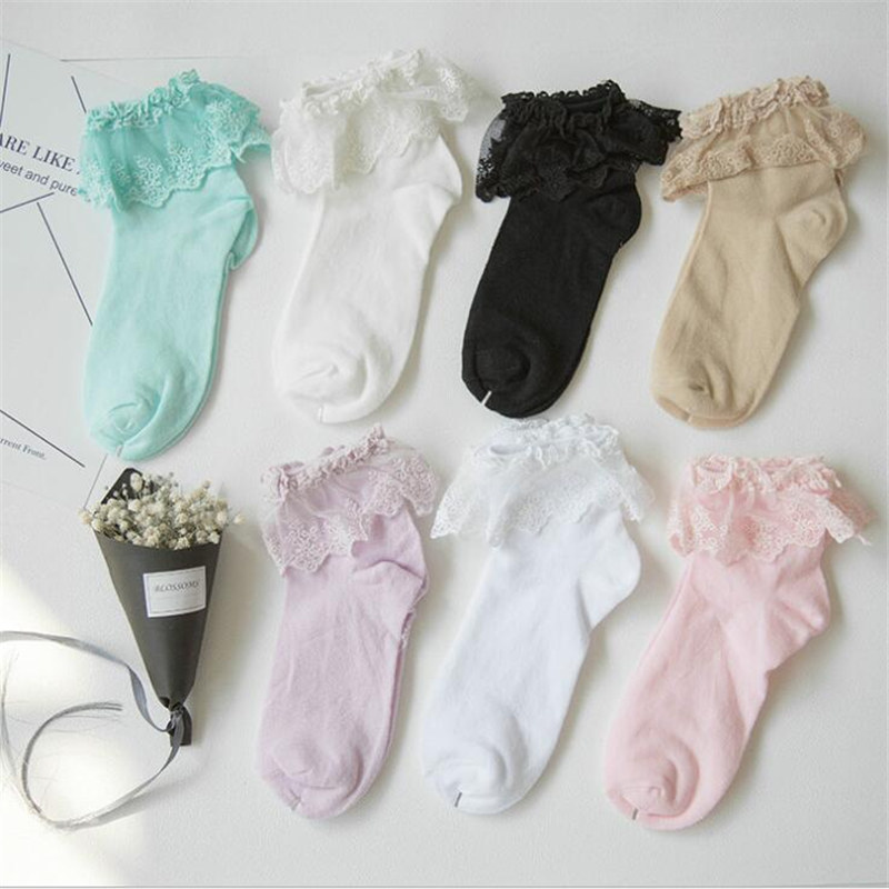 wholesale 1 Pair Lolita Style Japanese Maiden Lovely Woman Lace Short Socks Multiple Colors Cotton Socking High Quality