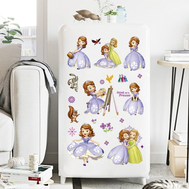 Princess Sofia Cute Wall Stickers For Kids Room Removable Cartoon Nursery Decals Children S Mural Home Decor Wallpaper